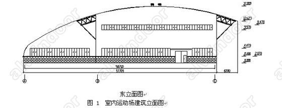 2.結構選型與分析 2.1 結構選型 本工程所處的地理位置是廠舊鍋爐房拆遷后所剩下的一塊地方,周圍都是樓房或建筑物,為了充分利用現有的建筑空間,它的平面形狀已被確定,見圖2所示。建筑長度為57.7m,寬度為52.9m,因此就要求在有限的區域內建造出符合各功能要求且具有現代外型的一個室內綜合性運動場所。 本工程設計有三種方案,最初方案是主結構的柱子采用混凝土柱,屋面采用大跨度壓型鋼板拱形結構形式;但經過進一步的查閱資料[1]和調研發現,此結構容易失穩,目前國內已有多個工程在冬季大雪壓頂的時候塌落,其主要原