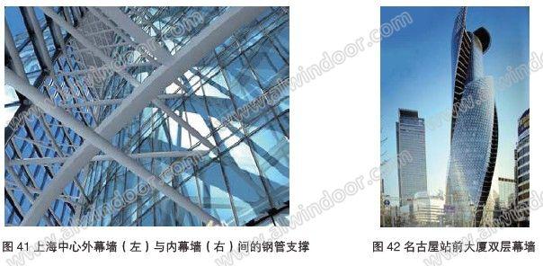 (词条遮阳板由行业大百科提供)和风力发电装置,是一座典型的绿色建筑(图44)。幕墙立面分为三段,各段之间的空间安装了两组轴流式风力发电机。内外幕墙之间的空间为内循环的热通道(图45),空气由架空地板抽出,经过热通道进入吊顶内的回风管,再返回架空地板,如此循环不已,大大改善室内的工作环境(图46)。珠江城山墙各层水平遮阳板均为光伏玻璃(图47),顶部拱形部分也安装了光伏组件图48、图49。