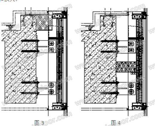 1)常用的玻璃幕墙层间防火封堵构造