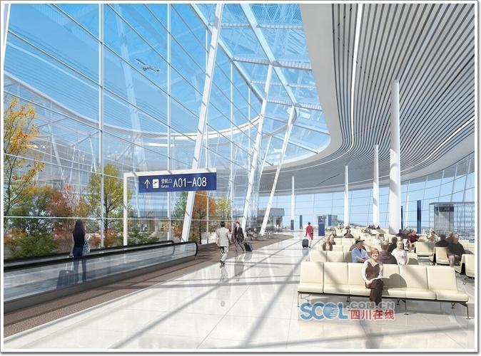 成都天府国际机场内部设计效果图   成都天府国际机场总体规划建6条跑道,126万平方米的航站楼,满足远期9000万人次的年旅客吞吐量需求,总投资718.64亿,国家十三五期间规划建设的最大民用运输枢纽机场项目。机场将分期建成,而首期工程则满足2025年旅客吞吐量4000万人次、货邮吞吐量70万吨和飞机起降量32万架次,建两纵一横3条跑道。首期还将建设两个航站楼,总面积约60万平方米,为双流国际机场T2航站楼的近2倍,机场建成后,成都将成为继上海、北京之后国内第三座拥有一市两场的城市。