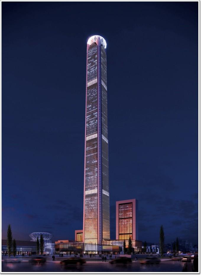 597米天津117,玻璃,铝板幕墙同步施工,明年9月完工