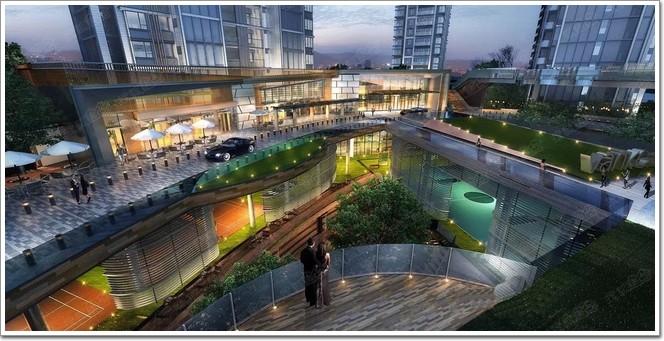 万科天空之城,大面积采用玻璃幕墙与金属线条的住宅风潮非凡