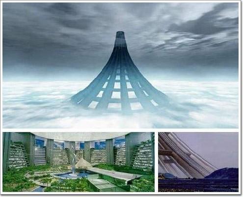 整体外形像金字塔,正是这样的稳固式构架,能保证摩天巨塔的抗风能力.
