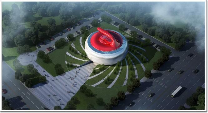 哈尔滨万达茂 用超鸟巢的用钢量造一架红色幕墙 钢 琴