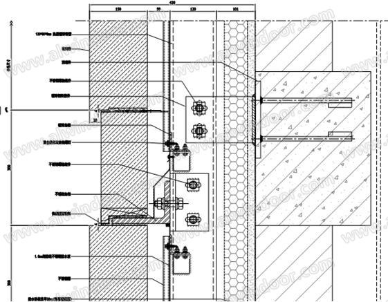 3 石材砌筑系统   3.1 国外的砌筑系统   目前主要有欧美两套相关系统可供参考。   (1) Cavity Bearing Walls[2]系统   美国砌体行业指导手册中砌体墙的系统主要构造原理如下:  图9 砌体墙砌筑三维示意图  图10 砌体墙砌筑平面剖面节点详图  图11 砌体墙砌筑水平拉结筋   可以看到,如同中国标准图集一样,主体结构和砌块砖之间通过水平加强钢筋提供水平力的支撑,砌块砖和主体结构之间不再是采用水泥砂浆填充,而是采用中空层代替,这样在解决水泥泛碱问题的同时,提供相应的通