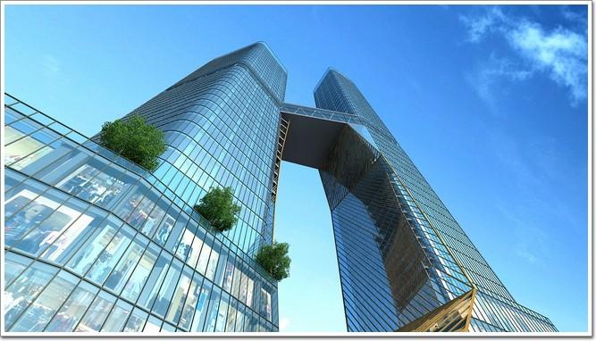 钢框架中心支撑及腰桁架全钢结构体系,为中国首座全钢结构双子塔建筑