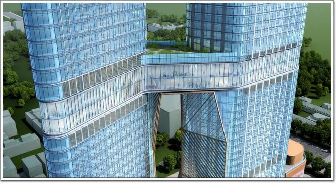 为中国首座全钢结构双子塔建筑,其中在高度100米的位置由两层连廊连接
