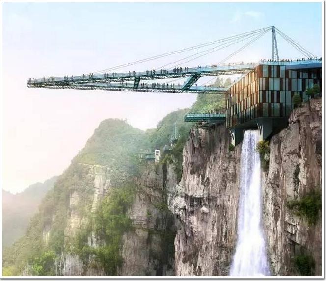 """位于重庆万盛黑山奥陶纪景区的天空悬廊""""于今年4月初对外开放."""