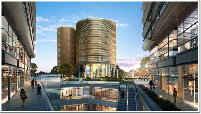 海虹桥新地中心圆柱形地标建筑效果图-上海新地中心 柯利达建造超图片