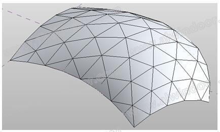 图7 三角形异形玻璃屋面表皮三维视图-基于BIM技术的建筑幕墙设计下料